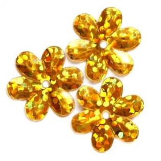 Cekiny 15 mm laserowe kwiatki kolor złote