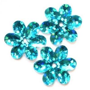 Cekiny 15 mm laserowe kwiatki kolor niebieskie