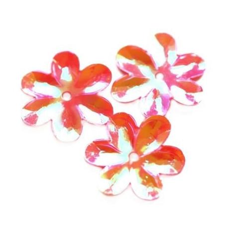 Cekiny 15 mm tęczowe kwiatki kolor różany