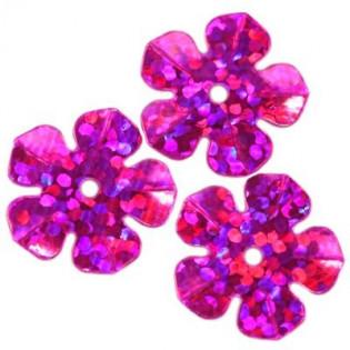 Cekiny 15 mm laserowe kwiatki kolor różowy