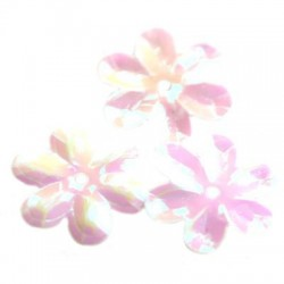 Cekiny 15 mm tęczowe kwiatki kolor biały