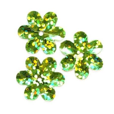 Cekiny 15 mm laserowe kwiatki kolor zielony