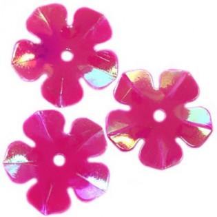 Cekiny 15 mm tęczowe kwiatki kolor różowe